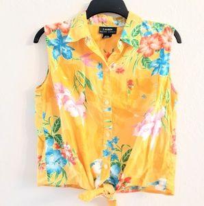 Lauren Ralph Lauren Hawaiian Tie Front Summer T